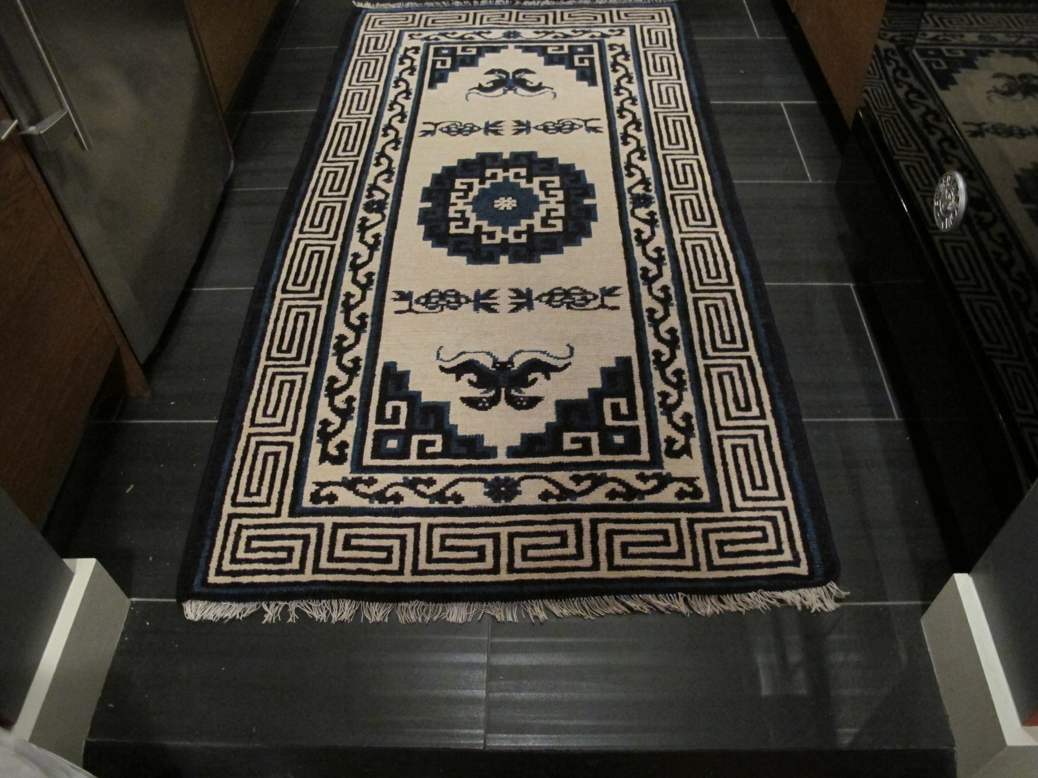 chinese rug fringe repair - after